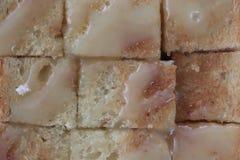 Textura do pão Toasted com leite condensado abrandado na parte superior imagem de stock royalty free