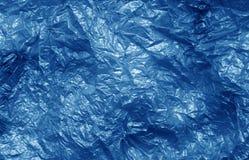 Textura do saco de plástico na cor dos azuis marinhos Fotografia de Stock