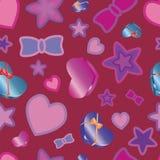 Textura do teste padrão com corações e estrelas Imagem de Stock Royalty Free
