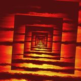 Textura do teste padrão da espiral do quadrado do fogo vermelho da perspectiva Foto de Stock Royalty Free