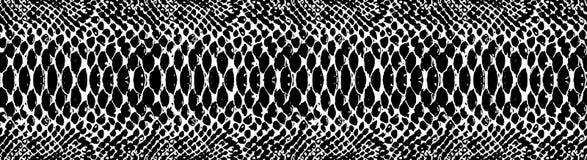 Textura do teste padrão da pele de serpente que repete preto monocromático & branco sem emenda Vetor Serpente da textura Cópia el ilustração stock