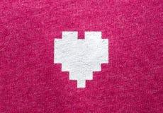 Textura do teste padrão do algodão com tela do coração Imagem de Stock