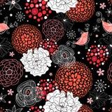 Textura do verão da flor com pássaros ilustração stock