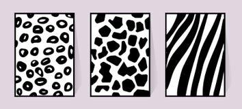 Textura do vetor da zebra, girafa, leopardo Ilustração preto e branco para o cartaz Cartaz monocromático com animal ilustração stock