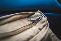 Textura do zíper no saco Imagem de Stock Royalty Free