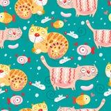 A textura dos gatos e os peixes e os ratos ilustração royalty free