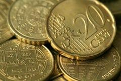 Textura dourada das moedas Fotografia de Stock