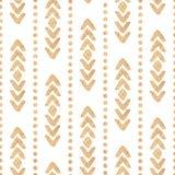 Textura dourada do vetor étnico sem emenda em um fundo branco Imagem de Stock