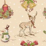 Textura drenada mano inconsútil creativa de la Navidad Fotografía de archivo libre de regalías