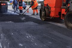Textura e fundo do asfalto recentemente colocado novo imagem de stock