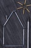 Textura e parafusos da sarja de Nimes Fotos de Stock