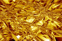 Textura enrugada sumário da folha de ouro Imagens de Stock