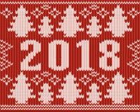 Textura feita malha do ano novo da ligação em ponte 2018 do Natal Imagem de Stock Royalty Free