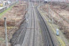 Textura ferroviaria de los carriles Imagen de archivo libre de regalías