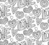 Textura festiva inconsútil con los corazones y el amor del garabato ilustración del vector