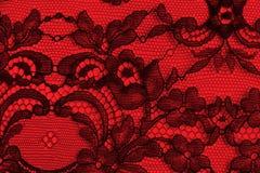 Textura fina negra y roja del cordón Imágenes de archivo libres de regalías
