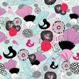 Textura floral com p?ssaros Foto de Stock Royalty Free