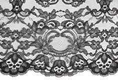 Textura floral del cordón fino negro Imagenes de archivo