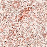 Textura floral del doodle inconsútil Foto de archivo libre de regalías