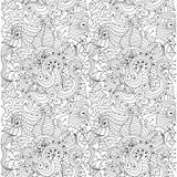 Textura floral desenhado à mão do sumário sem emenda do vetor Fotos de Stock