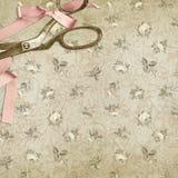 Textura floral do fundo do vintage - rosas chiques gastos com tesouras do vintage ilustração do vetor