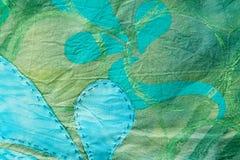 Textura floral Mano-teñida y cosida del verde Foto de archivo libre de regalías