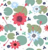 Textura floral sem emenda com flores, lírios de água, lótus, teste padrão à moda natural Fundo brilhante decorativo do vetor ilustração do vetor