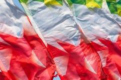 Textura, fondo, modelo Banderas que agitan en el viento Decorati Foto de archivo libre de regalías