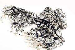 Textura, fondo, modelo Una bufanda de lana, blanco y negro, r Imagen de archivo