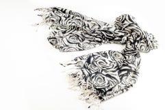 Textura, fondo, modelo Una bufanda de lana, blanco y negro, r Imagenes de archivo