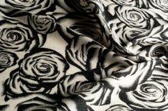 Textura, fondo, modelo Una bufanda de lana, blanco y negro, r Foto de archivo