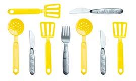 Textura - forquilhas, colher, colher e facas diferentes das crianças Foto de Stock Royalty Free