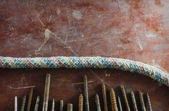 Textura, fundo com parafusos Fotografia de Stock Royalty Free