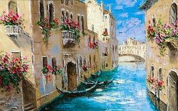 Textura, fundo Pintura na lona pintada com pinturas de óleo Foto de Stock Royalty Free