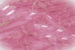 Textura, fundo, teste padrão Laço cor-de-rosa decorado com flores o foto de stock royalty free