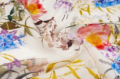 Textura, fundo, teste padrão Tela de seda Textura com rosa e ilustração royalty free