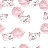 Textura, gato rosado y bola de hilos Libre Illustration