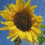 Textura generada mosaico de cristal del girasol Imágenes de archivo libres de regalías