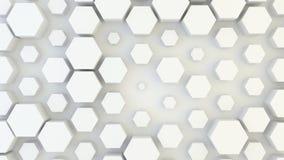 Textura geométrica abstracta de hexágonos aleatoriamente sacados y vueltos a clasificar según el tamaño Ilustración del Vector
