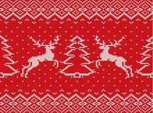 Textura hecha punto de la Navidad con los ciervos, los árboles de navidad y el ornamento geométrico Modelo inconsútil de Navidad stock de ilustración