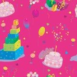 Textura inconsútil al cumpleaños en rosa Imagen de archivo
