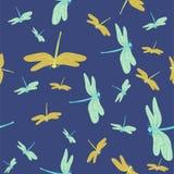 Textura inconsútil azul con las libélulas Modelo del vector ilustración del vector