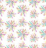 Textura inconsútil con el fuego artificial multicolor para el día de fiesta Imagen de archivo