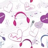 Textura inconsútil con el micrófono y auriculares, nota y corazones Fotografía de archivo libre de regalías
