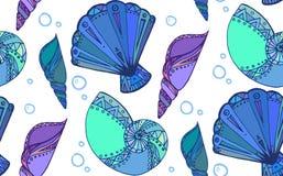 Textura inconsútil con las conchas marinas del garabato Imágenes de archivo libres de regalías