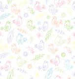 Textura inconsútil con las flores, las plumas y los pájaros Fotografía de archivo libre de regalías