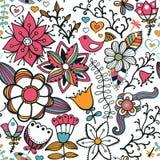 Textura inconsútil con las flores, los pájaros y las mariposas P inconsútil libre illustration