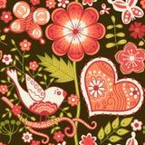 Textura inconsútil con las flores y los pájaros Estampado de flores sin fin Fotografía de archivo