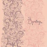 Textura inconsútil con las flores y los pájaros Modelo del tiempo de primavera Imagen de archivo libre de regalías