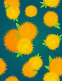 Textura inconsútil con los dientes de león amarillos en un fondo oscuro ilustración del vector